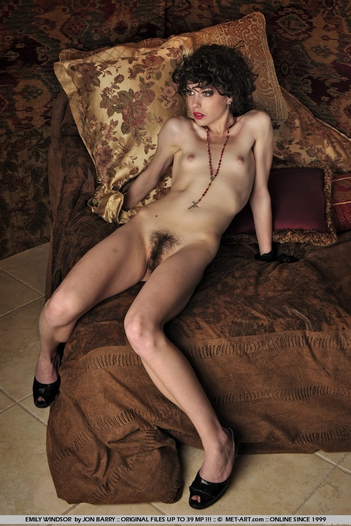 Skinny Met Art Model Emily Windsor Nude With Natural Bush In