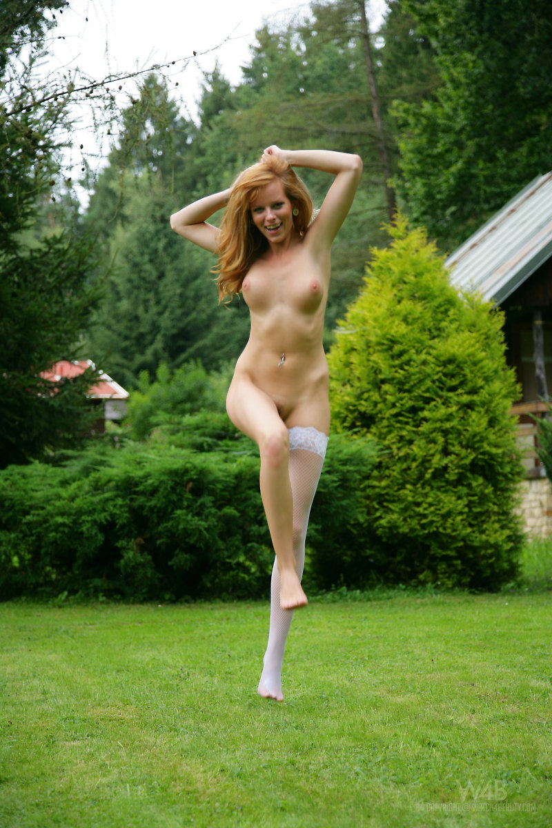 Kees From Czech Republic Posing Nude Outdoors In Stockings Garden